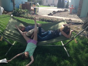 This is me relaxing on our hammock. Wait, don't see me relaxing anymore? Exactly.
